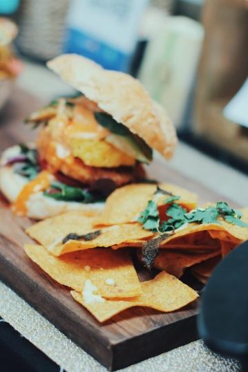 Vegan burger and Nachos